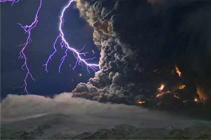 Lightning Bolts at the Iceland Volcano Eyjafjallajökull.
