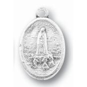 Our Lady Of Fatima - 1 inch, Silver Oxidized Medal