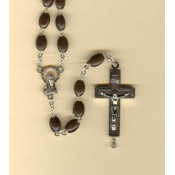 Flat Brown Bead Rosary