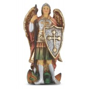 "4"" St. Michael Hand Painted Solid Resin Statue with Holy Card"