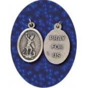 St. Michael Medal - 1 inch, Silver Oxidized