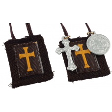 100% Wool Crusader Scapular (12in) with Crucifix and St. Benedict Medal
