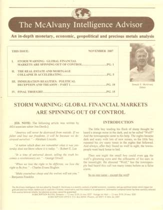 Storm Warning: Global Financial Markets are Spinning Out ...
